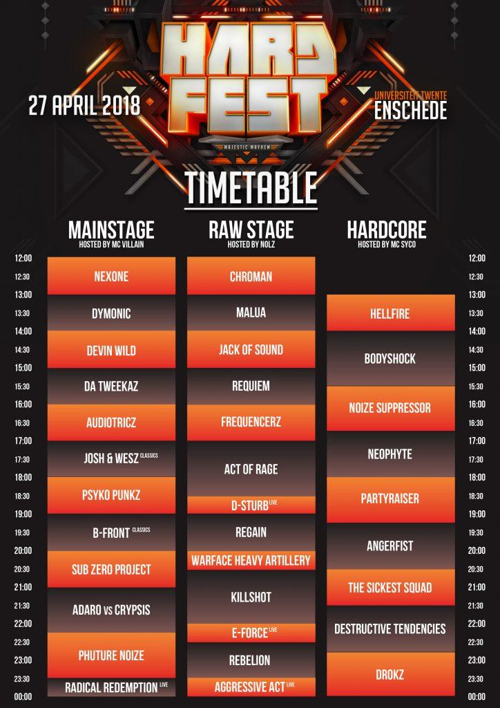 Timetable / Blokkenschema HARDFEST 2018